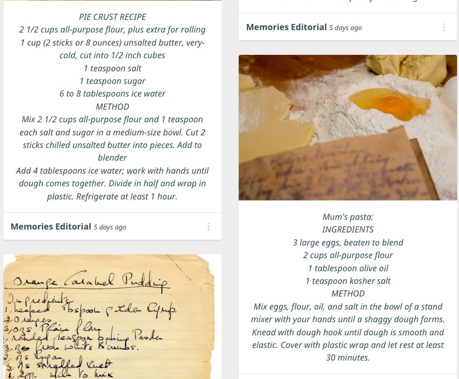 Recipes Memories Page