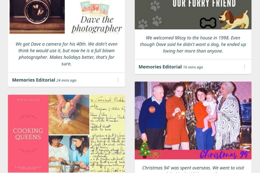 Memories Page example
